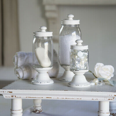 Set of 3 Glass Jar Metal Canister Antique White Decorative Jars with Lids - Glass Canister Jar Set