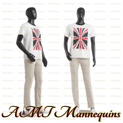 Male Mannequin Base 6ft Tall Arm Head Rotates Black Full Body Manikin-mc1