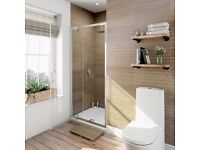 Low profile shower tray (1000x900mm) and pivot shower door
