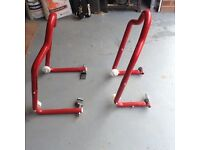 Scorpion front and rear paddock stands for track day or race use