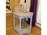 Refurbished Shabby Chic Side,Coffee,Occasional, Display, Plant, Wine Table Grey and Silver Glitter