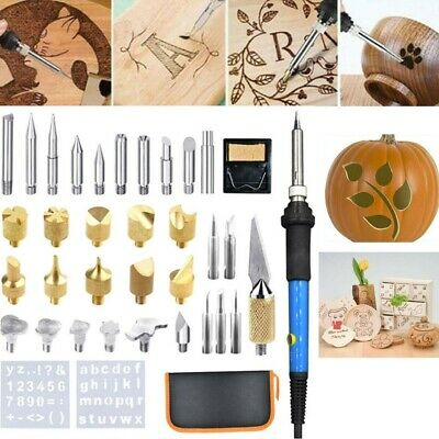37PCS Wood Burning Kit Set Tool Pen Pyrography Supplies Iron Tips Art Craft New