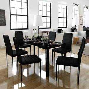 Dining Set 6 Black Chairs + 1 Table (SKU242271)vidaXL Mount Kuring-gai Hornsby Area Preview