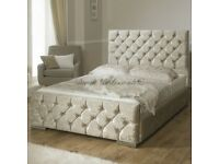 BLACK CHAMPAGNE AND SILVER DOUBLE OR KING SIZE CHESTERFIELD BED WITH MATTRESS - BLACK SILVER OR MINK