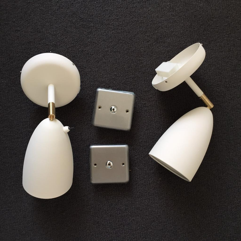 2 X Brand New Designer Wall Lights Reading Bedside Lamps With Touch Dimmer Switches And Led Bulbs