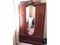 Brown Wood Big Wardrobe with Mirror