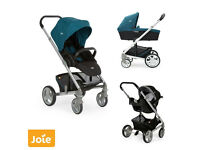 Joie chrome travel system pushchair with carry cot and Gemm car seat in black and jade