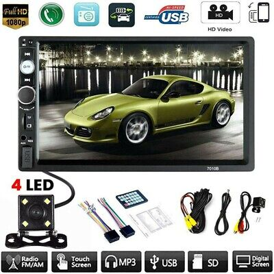 """7"""" Car MP5 Player Double 2DIN Bluetooth Touch Screen Stereo Radio USB AUX Camera"""