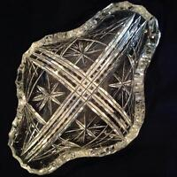 Crystal candy dish and etched glass candy dish