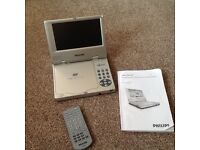 """Philips Portable Rechargeable 7"""" DVD Player with box."""