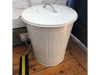 3 x White metal recycling or garden bin