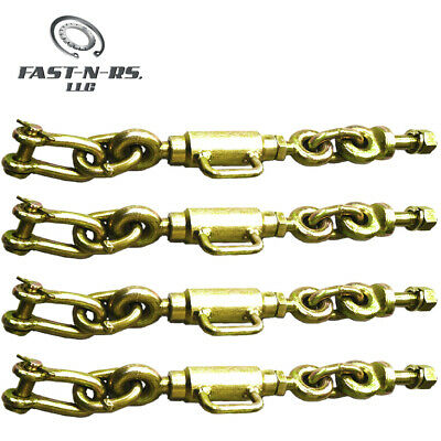 Four Universal 3 Point Hitch Chain Stabilizers Turnbuckle Sway Check 11.7 - 13.5
