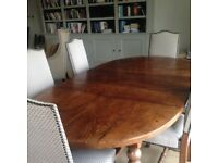 French-Made Beautiful Oak Dining Table & 6 Upholstered Chairs