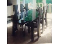 Modern Black Glass Top Extendable Dining Table Only Not Chairs