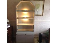 Display Cabinet with Cupboard under 4 shelves, 2 lights