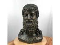 Concrete bust of Zeus statue with gold/black finish