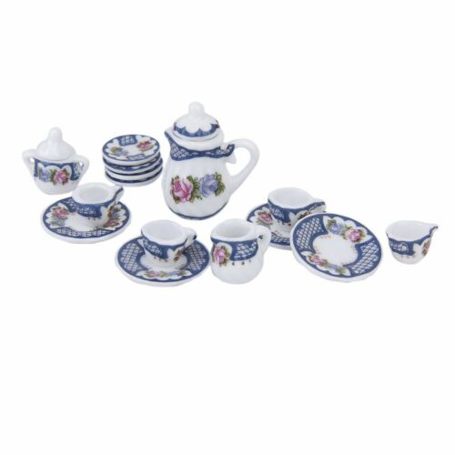 15X British Style Porcelain Tea Set Dish/Cup/Plate Blue for 1/12 Dollhouse I0W8