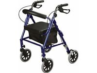 USED ONCE A FOLD AWAY ROLLATOR ELDERLY WALKING AID WITH FOLDING SEAT AND BASKET LIGHTWEIGHT FOLDING