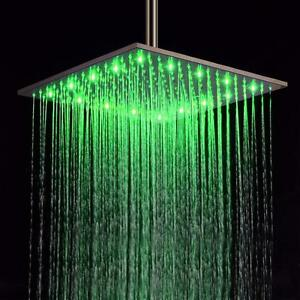 16 Inch LED and non LED Square Stainless Steel Rain Showerhead - Chrome and Brushed