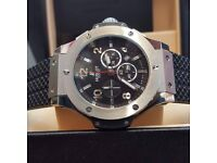 New Bagged And Boxed black dial silver casing rubber strap Hublot Fusion Watch with Sweeping stopwat
