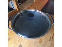 Large Le Creuset Wok with glass lid. Granite grey