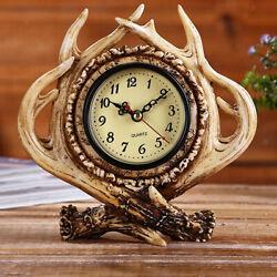 Vintage Style Antler Design Alarm Clock Desktop Clock for Home Bar Office Decor