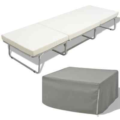vidaXL Cama/taburete Modelo Plegable con Colchón Incluido Marco Acero 200x70 cm