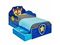 PAW PATROL CHASE TODDLER BED WITH STORAGE DRAWERS MDF BOYS