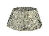 Christmas Tree Base Skirt Ring Xmas Willow Wicker Festive Stand Cover Grey 57cm