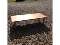 1980's vintage coffee table in beech or other light wood. Great styling