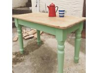 Solid pine kitchen table painted in vintage green