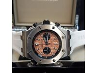 New AP Audemars Piguet White Strap Silver Casing Salmon Face Comes AP Boxed with Paperwork