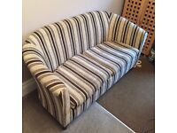 2 seater sofa brown and beige stripped