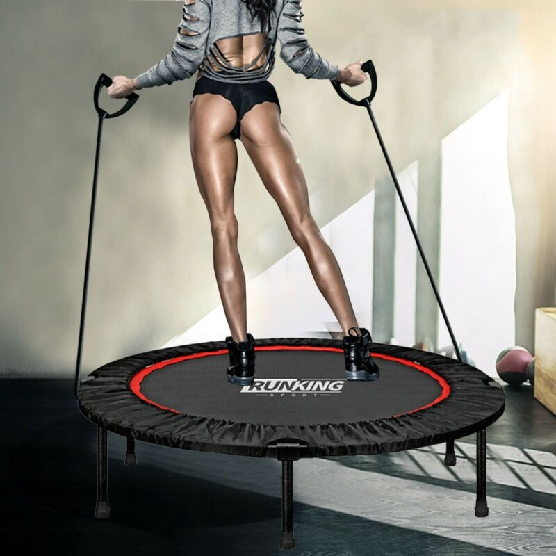 40in Foldable Mini Fitness Trampoline Rebounder Exercise Wor
