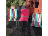 3 x vintage, compact, folding camping/picnic chairs