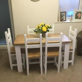 Solid Rustic Farmhouse Dining Table And Six Chairs In A SHabby Chic Style
