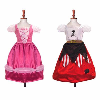 6/8 Jahre Doppelseitig Prinzessin Piraten Kinder Kostüm Buch Woche (Doppel Kostüm Party)