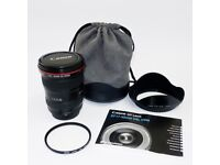 Canon EF 17-40mm F/4.0 L USM Lens with filter, soft case and hood. Excellent condition