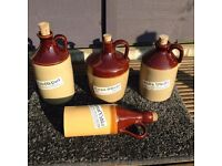 Collectable set of 4 salt glazed preserve bottles all perfect.