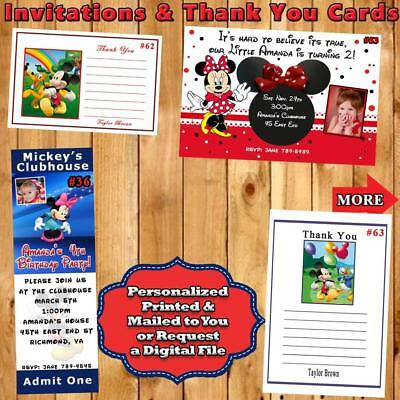 Mickey & Minnie Mouse Invitation or Thank You Card 10 each w/wo Env Personalized (Minnie Mouse Thank You Cards)