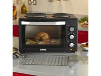 Tower T14013 Mini Oven with 2 Hot Plates and Grill, 1000 W, 28 Litre, Black