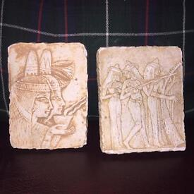 Two vintage Egyptian wall plaques (stone composite) pictures / art