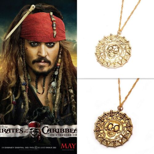 Top Pirates of the Caribbean Gold Coin Aztec Kette Anhänger Necklace Halskette