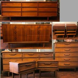REFINISHED Mid Century Modern Teak Rosewood Walnut Dressers Bedroom Set Teak Bed Queen Headboard w nightstands Wardrobe