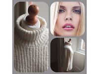 LADIES Harvey rothschild WOOL AND CASHMERE CREAM POLO NECK JUMPER 8 10 12 SUPER SOFT THICK WARM