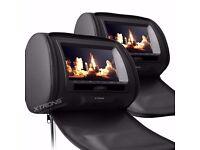 "XTRONS 2 x 7"" Car Headrest Digital DVD Player Game Dual Monitor Screen Black"