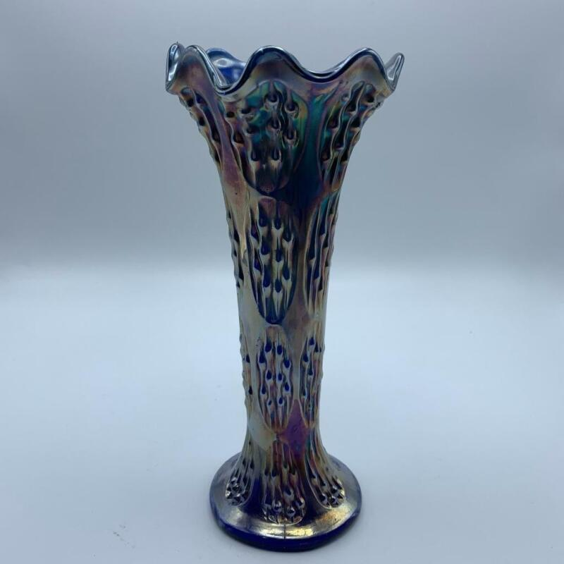 Fenton Knotted Beads Blue Carnival Glass Swung Vase