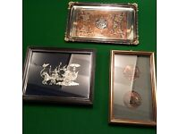2 framed pieces of metal work and 1metal tray