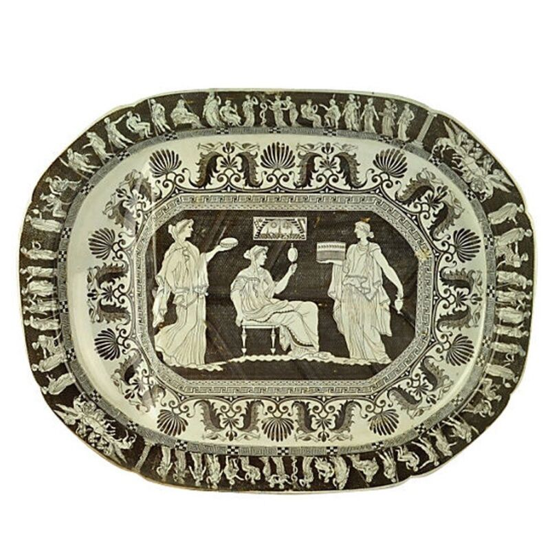 Rare Minton Pearlware Greek Platter 1810