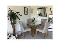 Glass Dining table and 4 upholstered chairs